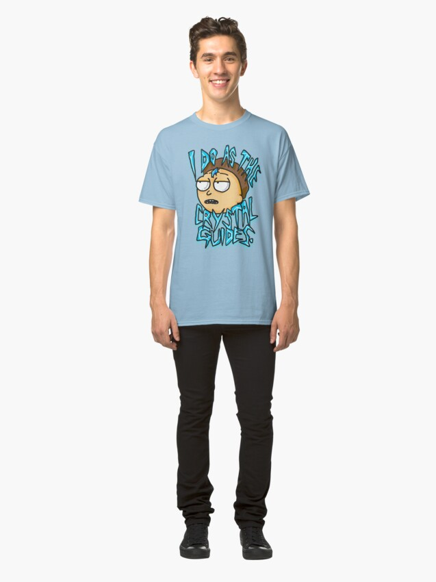 """Alternate view of Morty """"I Do As The Crystal Guides"""" quote from Rick and Morty™ Death Crystal Classic T-Shirt"""