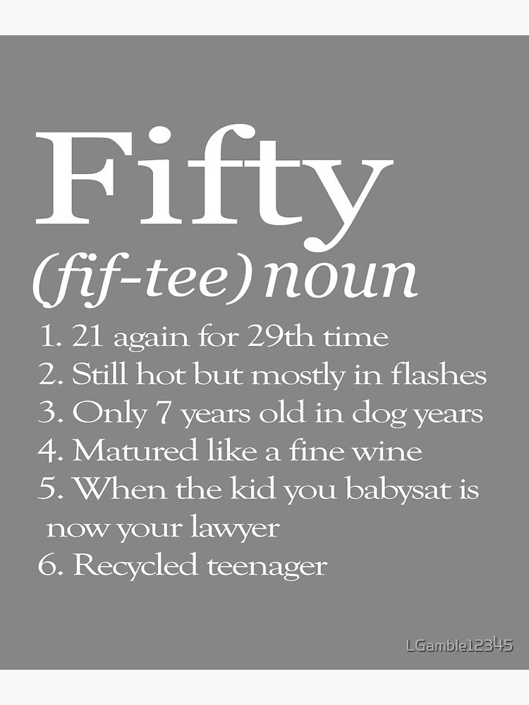 Funny Fifty Definition Great 50th Birthday Gift For Men Women