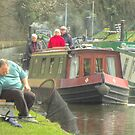 Narrowboat and Fisherman, Llangollen Canal by SimplyScene