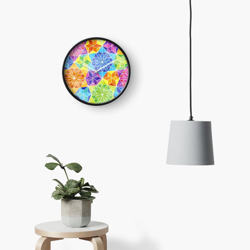 Rainbow mandala kaleidoscope Clock