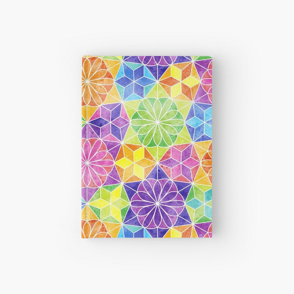 Rainbow mandala kaleidoscope Hardcover Journal