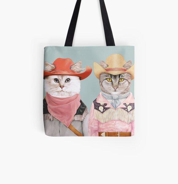 Cowboy Cats All Over Print Tote Bag