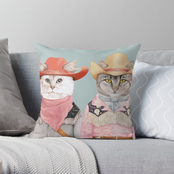 Cowboy Cats Throw Pillow