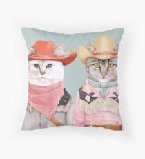 Cowboy Cats Throw Pillow