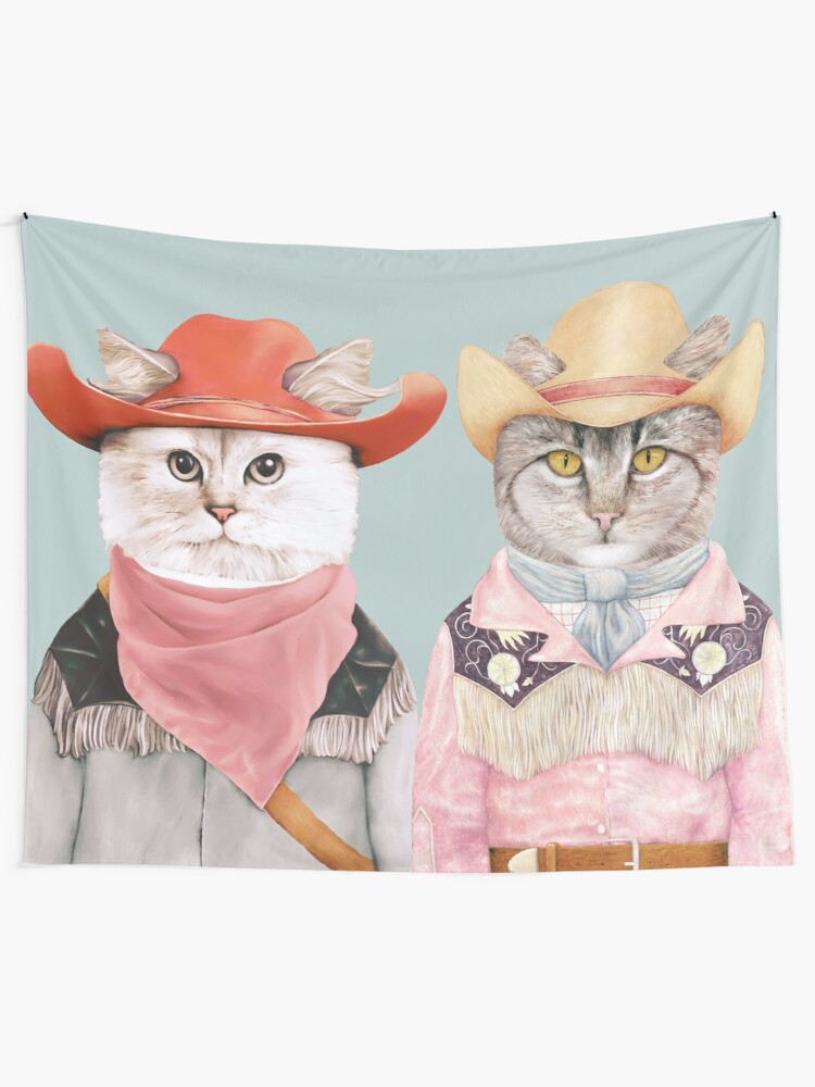 Alternate view of Cowboy Cats Tapestry