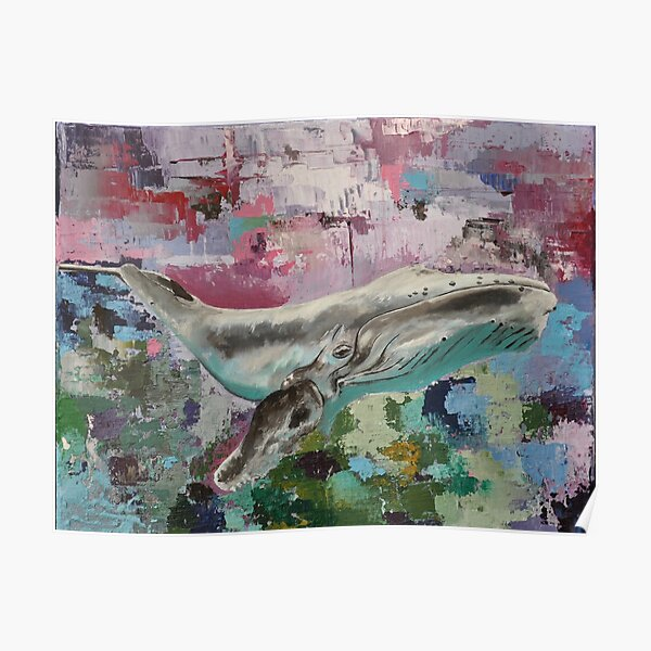 Humpback whale on abstract background Poster
