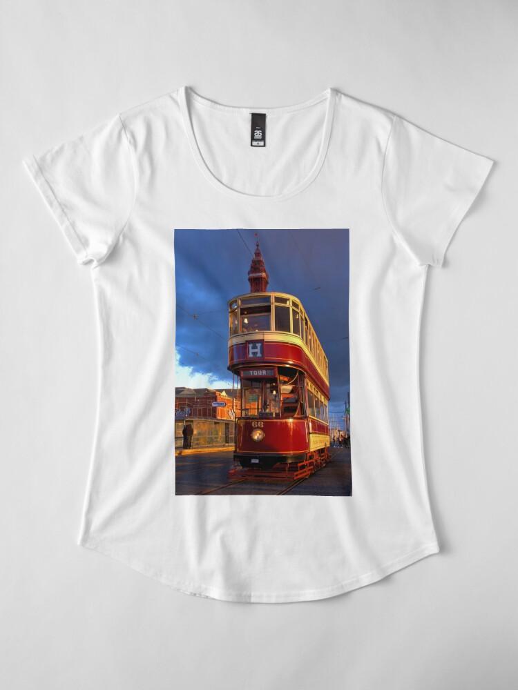 Alternate view of Blackpool Heritage Tram and Blackpool Tower Premium Scoop T-Shirt
