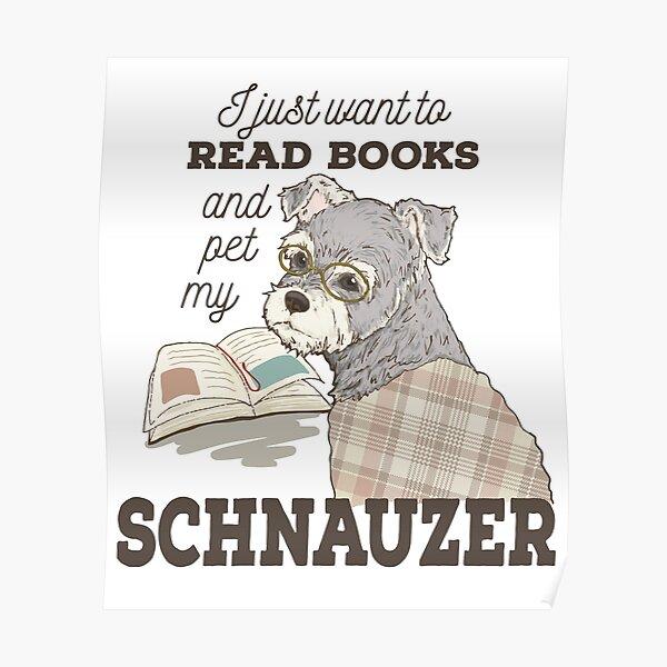 Schnauzer Cartoon Book Lover Gift Poster