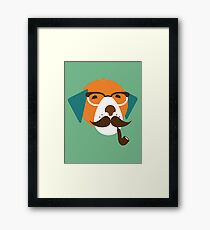 Cute Beagle Dog Hipster Animal With Pipe Framed Print