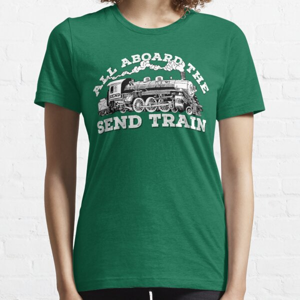 All Aboard of the Send Train - Climbing Pun Essential T-Shirt