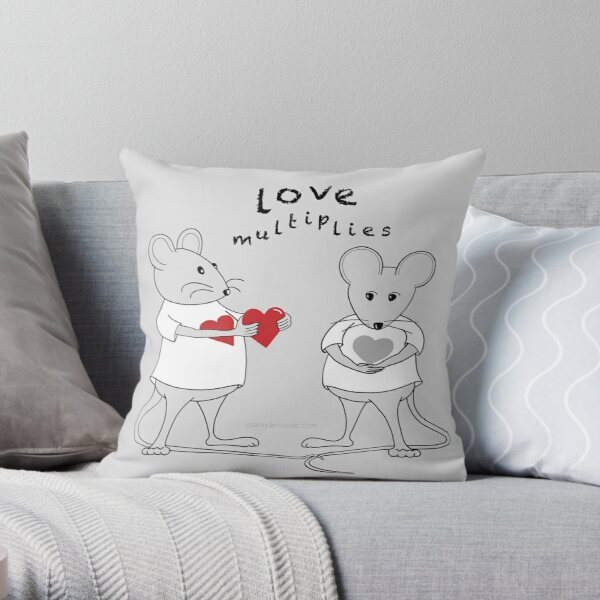 MantraMouse® Love Multiplies Cartoon in Gray Background Throw Pillow