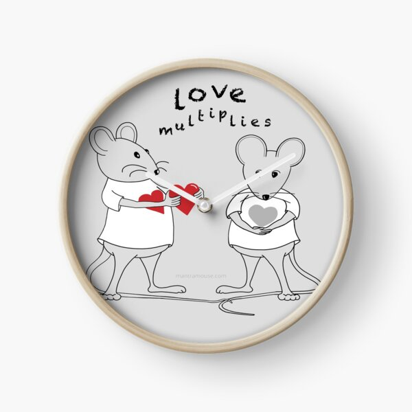 MantraMouse® Love Multiplies Cartoon in Gray Background Clock