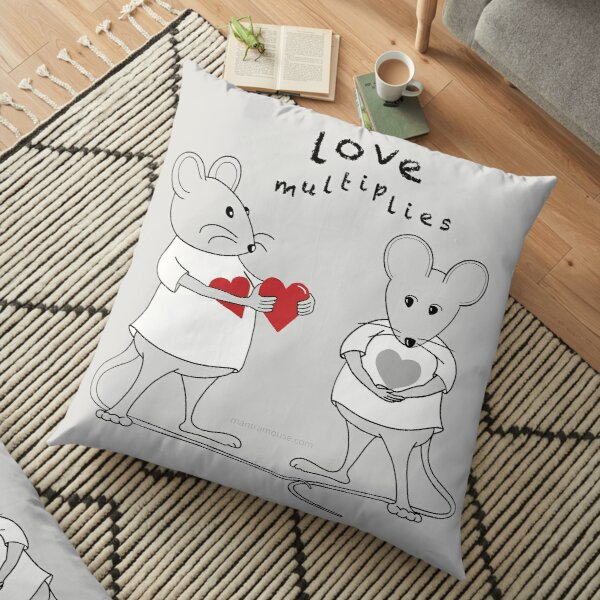 MantraMouse® Love Multiplies Cartoon in Gray Background Floor Pillow
