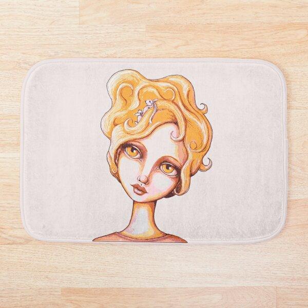 Bunny Bouffant (Orange Version) Bath Mat