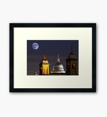 St Pauls and Moon Framed Print