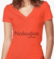 Neducation Women's Fitted V-Neck T-Shirt