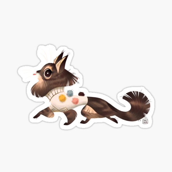 Pom Pom Sweater Cat Sticker