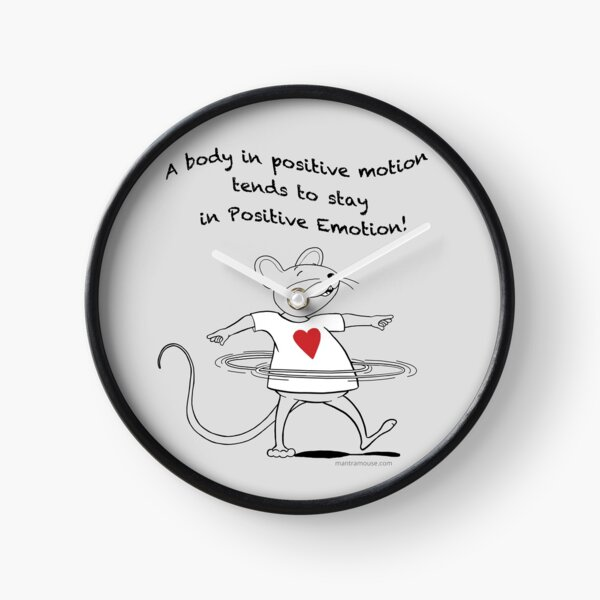 MantraMouse® Positive Emotion Cartoon on Gray Background Clock