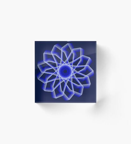 Blue Lines Abstract Flower Acrylic Block