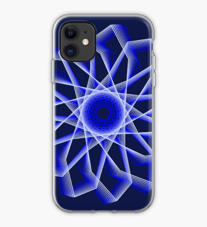 Blue Lines Abstract Flower iPhone Case