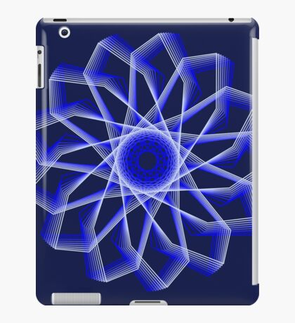 Blue Lines Abstract Flower iPad Case/Skin