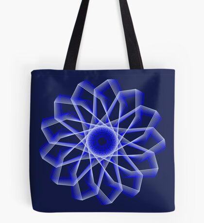 Blue Lines Abstract Flower Tote Bag