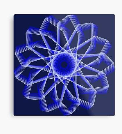 Blue Lines Abstract Flower Metal Print