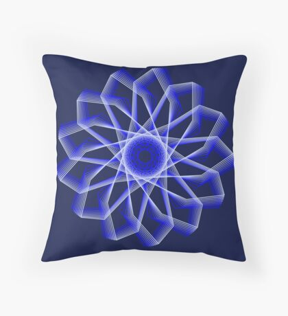 Blue Lines Abstract Flower Floor Pillow