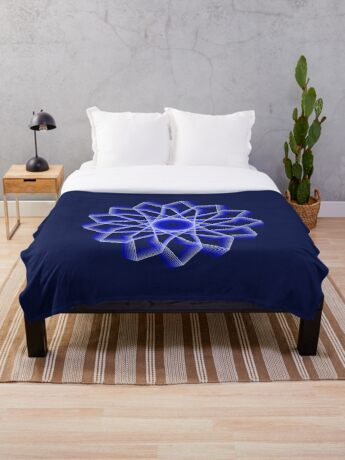 Blue Lines Abstract Flower Throw Blanket