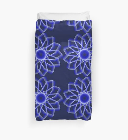 Blue Lines Abstract Flower Duvet Cover