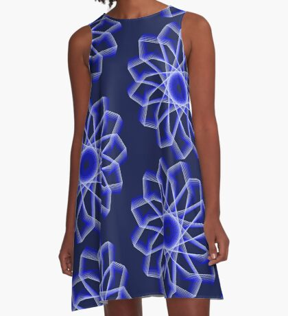 Blue Lines Abstract Flower A-Line Dress