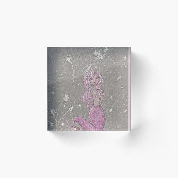 Dandelion Mermaid Acrylic Block