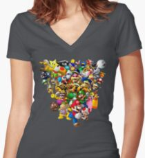 Mario Bros - All Star Women's Fitted V-Neck T-Shirt