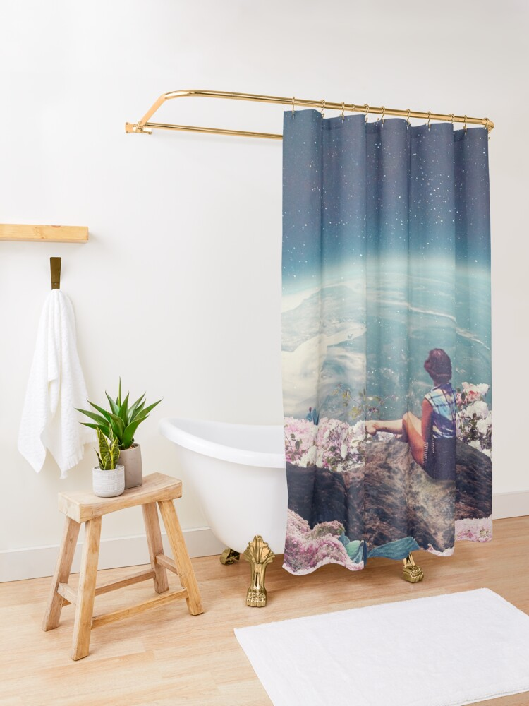 Alternate view of My World Blossomed when I Loved You Shower Curtain