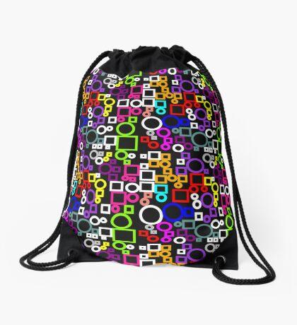 Happy Circles and Squares Drawstring Bag