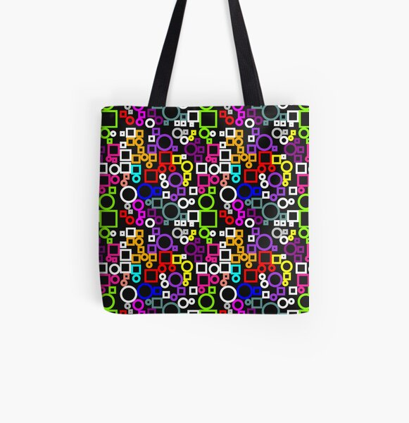 Happy Circles and Squares All Over Print Tote Bag
