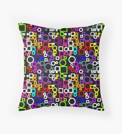 Happy Circles and Squares Throw Pillow