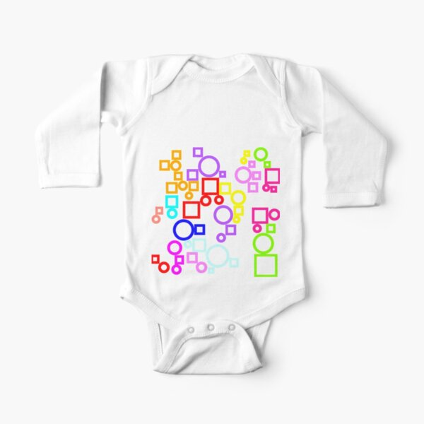 Happy Circles and Squares Long Sleeve Baby One-Piece