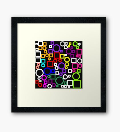 Happy Circles and Squares Framed Print
