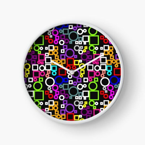 Happy Circles and Squares Clock