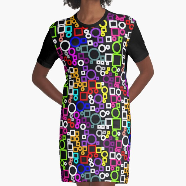 Happy Circles and Squares Graphic T-Shirt Dress