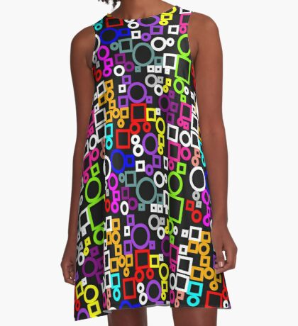 Happy Circles and Squares A-Line Dress