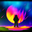 Retro Neon 80s Astronaut on Alien Planet by orionlodubyal