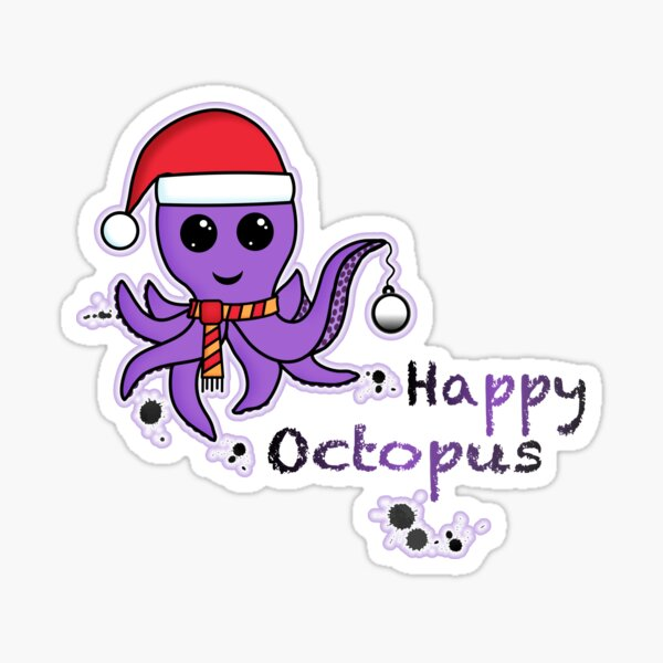 Happy octopus, pulpo kawaii navideño  Pegatina brillante