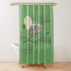 Tardigrade and Moon Doodle Shower Curtain
