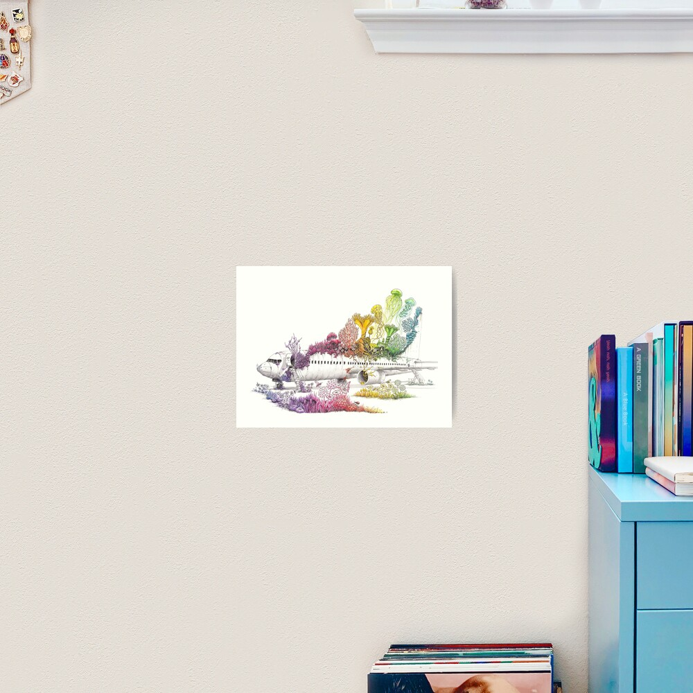 Long Landed - Plane Painting - Rainbow Nature Art Print