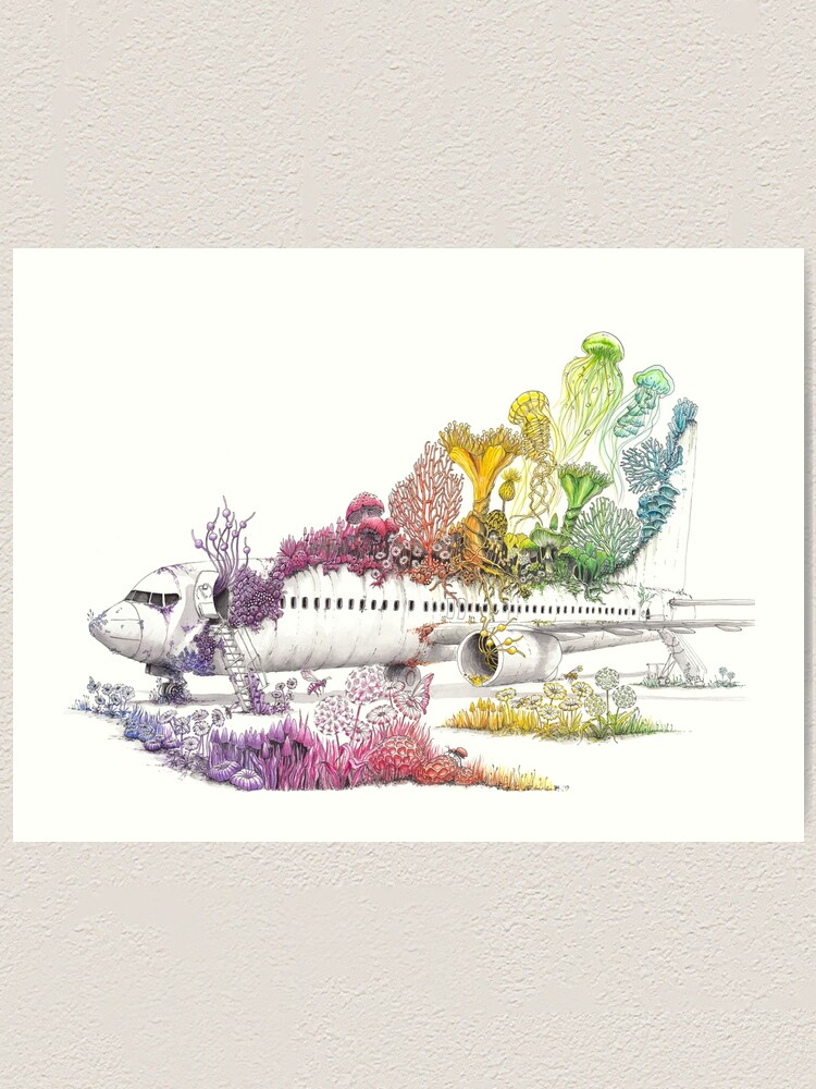 Alternate view of Long Landed - Plane Painting - Rainbow Nature Art Print