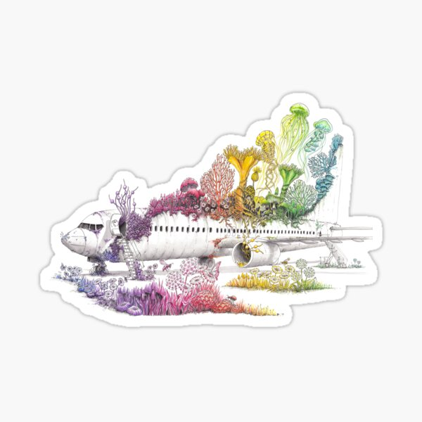 Long Landed - Plane Painting - Rainbow Nature Sticker