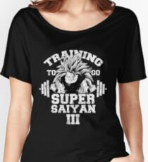 Training to go Super Saiyan III anime gym workout lifting weights Women's Relaxed Fit T-Shirt