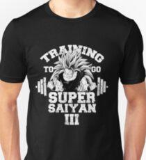 Training to go Super Saiyan III anime gym workout lifting weights T-Shirt